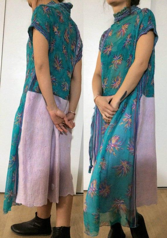 dress Nuno Hand Designer dress felt Art clothing dress Wearable Felted made Colorful Felted dress w57tA
