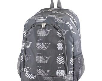 GRAY Whale Monogram Backpack, Personalized Backpack, Monogram Bookbag, Girls Backpack, Pink Backpack, Kids Backpack, School Backpack