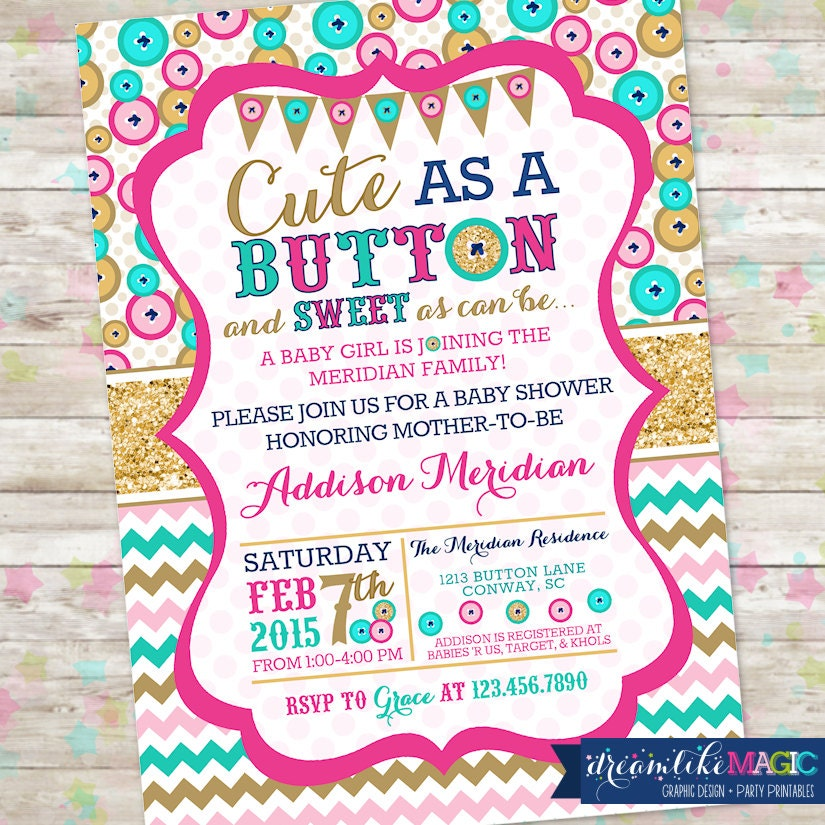 Cute as A Button Baby Shower Invite Baby Girl Shower Buttons