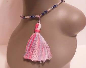 Pink and Blue Tassel Necklace