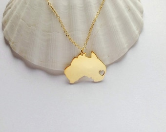 Australia Necklace Gold,Australia Shaped Jewelry with Heart,Australia City Necklace,Personalized Country Necklace,AU Pendant