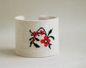 Wide cuff bracelet with red and black floral embroidery - Ukrainian Ethnic collection br007