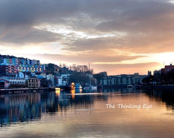 Sunrise over the docks. A4 mounted
