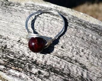 Handmade Garnet Ring on silver non tarnish wire Jewelry