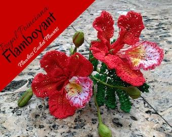 Crochet Flower Pattern, Crochet Flamboyant Flower, Crochet Royal Poinciana, Delonix Regia