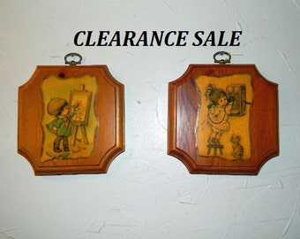 Wood Wall Plaques - Childrens Home Decor - CLEARANCE SALE