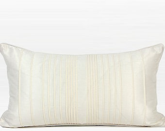"""Luxury White Striped Textured Pillow Cover 12""""X22"""""""