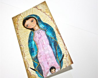 Our lady of Guadalupe with Angel  - Greeting Card 3 x 7 inches - Folk Art By FLOR LARIOS