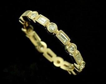 Straight Diamond Wedding Ring, Eternity Diamond Band, Stackable Yellow Gold Wedding Ring, Art Deco Milgrain Round Diamond Band 2.7mm