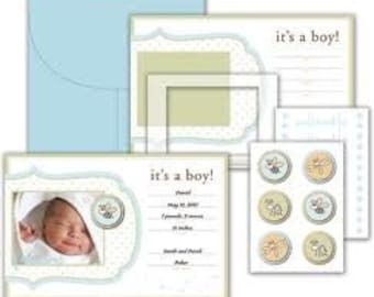 Little Yellow Bicycle Snugglebug Boy Baby Announcement Kit