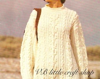 Lady's aran tunic knitting pattern. Instant PDF download!