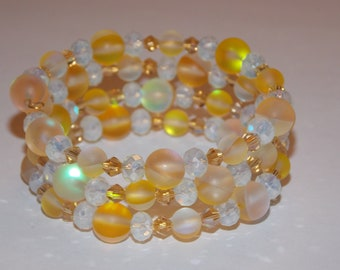 Yellow Glass Bead White Rondelle Golden Champagne Crystal Memory Wire Wrap Bracelet