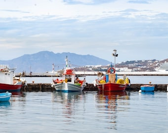 Colorful Fishing Boats in Mykonos Greece Old Port Fine Art Photography