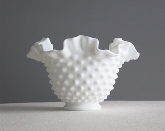 Vintage White Milk Glass Bowl with Hobnail Design by Fenton - Medium Ruffled Rim - Small Candy Dish