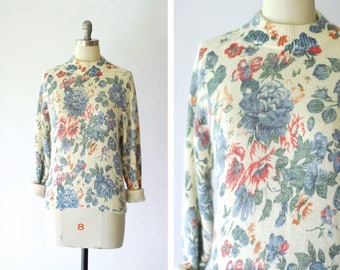 vintage silk and angora floral sweater / size medium large