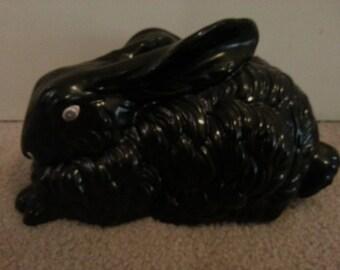 Large Black Ceramic Rabbit