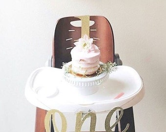 1st Birthday High Chair Banner | High Chair Banner | Smash Cake Topper | First Birthday Decor | Birthday | Smash Cake | Pink Gold Birthday