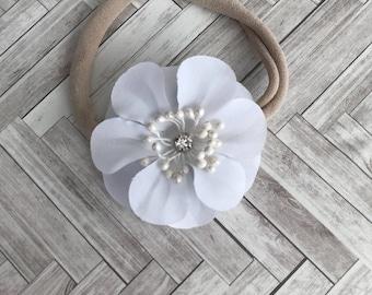 White flower headband - newborn headband gift - baby girl headband - baby shower gift
