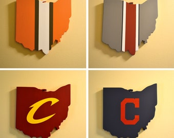 Northeast Ohio Sports Wall Art Collection - Four Handmade Wooden Ohio Signs - Browns, Buckeyes, Cavaliers, Indians - Cleveland - Columbus