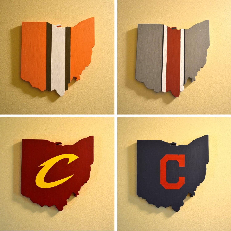 Northeast Ohio Sports Wall Art Collection Four Handmade