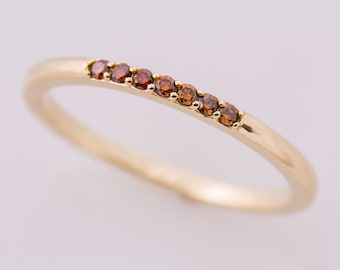 Stacking Wedding Ring, 14K Yellow Gold Ring, Fancy Brown Diamonds Ring, Champagne Diamonds Band, Cognac Diamonds, Gift Ring, Dainty Band