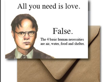 Greeting card valentines day card the office michael greeting card valentines day card dwight shrute the office funny hand drawn illustration m4hsunfo