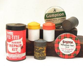 7 anciennes boîtes en fer Fix-Tite Scotch Gumption Snuff Garrett Kodak cartouche bobine de Film
