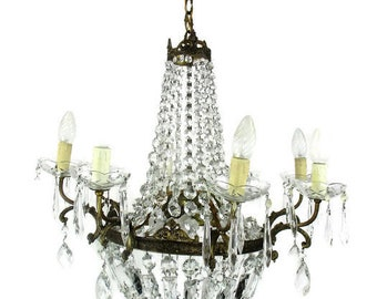Large Antique French Chandelier Prisms Waterfall Bag & tent Basket Prisms WOW