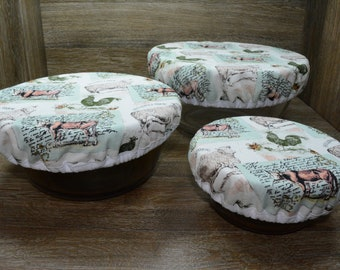 Eco-Friendly // Reusable // Bowl Covers // Set of 3 // A Day on the Farm