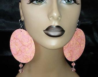 Light Peach Brown Swirl Print Womens Fabric Earrings Embellished with Beads, Women Earrings, Fashion Earrings,Large Earrings, Round Earrings