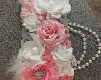 White and pink maternity sash