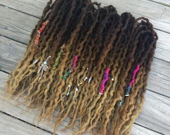 Full Set (50 DE) Wool Dreads Bohemian Brown Blonde Ombre dreadlocks extensions ~Choose Length~