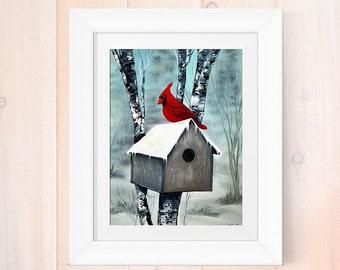 Oil painting reprint, cardinal painting, oil painting cardinal art print, giclee print, home decor, birdhouse artwork, bird lover art print