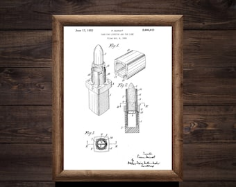 Lipstick patent print - High Quality print made with Gloss Photo Paper - Original patent number 2600811 from 1950