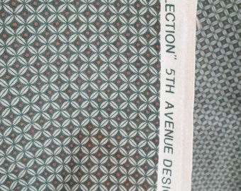 Vintage fabric green, silver, diamond dot drapery material, 1981 5th Ave, 1 yard, 11 yards available