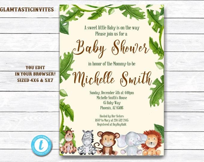 Jungle Baby Shower Invitation, Baby Shower Template, Baby Shower Invitation, Giraffe, Elephant, Monkey, Zebra, Safari, Jungle, You Edit, DIY