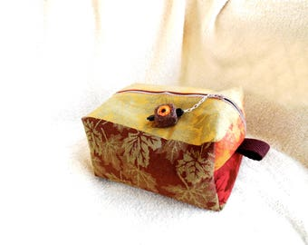 Cosmetic Case...Box Style Cosmetic Pouch...Handmade Jewelry Cosmetic Carry Pouch...Cosmetic Pouch With Handcrafted Zipper Pull Charm...