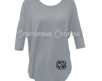 Slouch Tunic, Monogrammed Tunic, Grey Tunic, Cream Tunic, Monogrammed Shirt