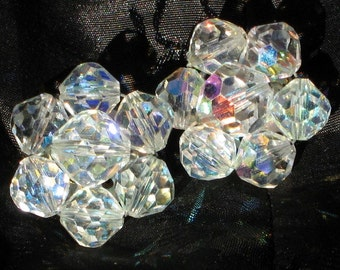 Haute Couture AB Crystals Vintage Earrings Wedding Marilyn Cluster Flower Aurora Borealis Hand Wired Clip Antique Estate Art Deco 50's
