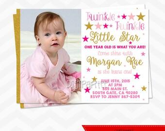 Twinkle Twinkle Little Star Invitation - Twinkle Twinkle Little Star Birthday Party