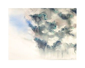 Abstract Storm Clouds 4x6 8x10 Print - Archival Quality Watercolor Giclee - Abstract Weather Watercolor Art - Dark Thunderstorm Rain Print