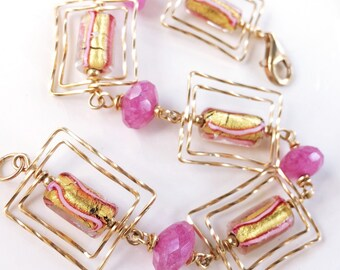 Pink and Gold Murano Glass Bracelet, Gift for Her, Gold Bracelet, handmade Venetian Glass, Candy Cane, Cotton Candy Pink