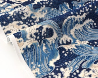 Japanese fabric blue x50cm wave traditional dobby cotton
