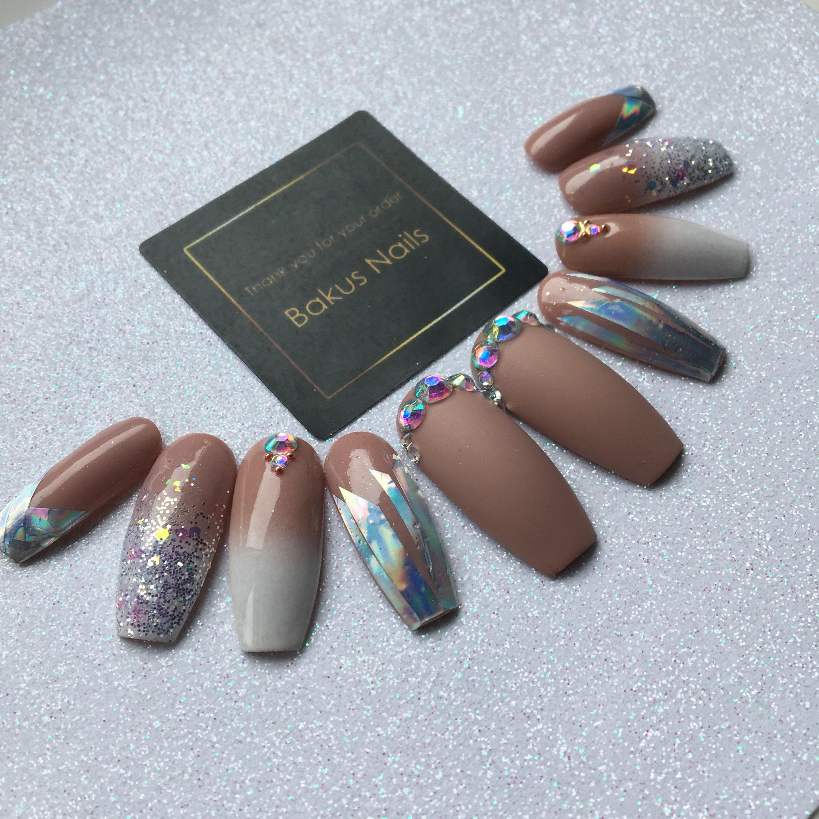 Hamd Painted press on nails false nails long coffin shape nude ...