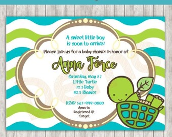 50%Off Little Turtle Baby Shower Invitation, Baby Shower Invite, Turtle party, Birthday Invitation, Baby Shower Turtle Party, Shower Invitat