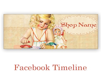 Personalized Facebook Timeline Banner Cover with Vintage Girl Ironing - Digital Download - GIRL IRONING TIMELINE