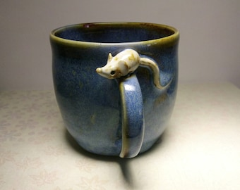 Cup with handle ceramic mug with blue and Brown mouse