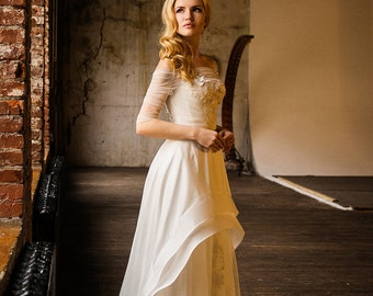 Tina/ Wedding dress with sleeves/ Rustic wedding dress