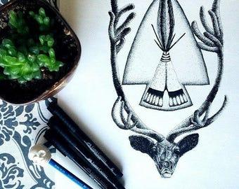 Rocky Mountain Elk Drawing