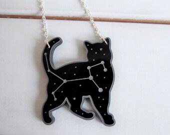 Felis constellation necklace -  Space cat necklace - black cat laser cut necklace - black acrylic necklace - constellation necklace